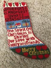 Vintage Needlepoint Christmas Stocking Spirit Love Family Friends Wool