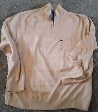 ! NWT MSRP $60 Mens VAN HEUSEN Zip Tan Light Sweater Pull On Long Sleeve 2XL XXL