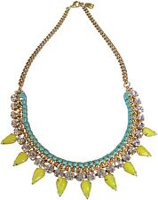 Yochi Pear Shape Yellow Crystal Drop Woven Frontal Chain Necklace