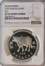 1997 Macau Lunar Year of the Ox Silver 100 P Macao NGC PF 69 Ultra Cameo