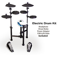 EDK120 Electric 8 Piece Electronic Drum Kit +Headphone+USB Cable+Adapter
