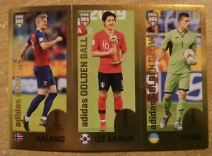 PANINI FIFA 365 2020 nu 421 HAALAND-LEE-LUNIN VERY RARE PINK BACKSIDE MINT !!!