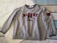 Disney Size Large Pullover Sweater Gray Mickey Mouse Original Long Sleeve Top