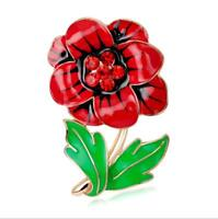 Red Green Leaf Poppy Flower Symbolic Brooch Poppies Remembrance Day Pin BR438