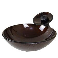 Round Bathroom Glass Vessel Sink Modern Vanirty Waterfall Faucet  Drain Combo