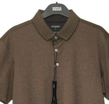 "M&S Marks Small 36/38"" Mens Luxe Autograph Brown Striped Cotton Polo TShirt BNWT"