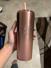 Starbucks Holiday Travel Tumbler Pink Stainless Steel Straw Venti 24 oz.