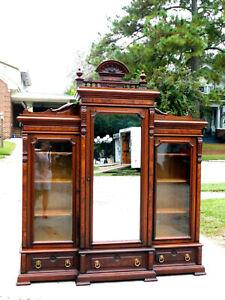 Fantastic Walnut Victorian Three Door Bookcase Display Cabinet circa1860's