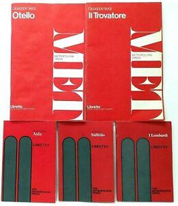 Metropolitan Opera Libretto Verde Lot Stiffelio Otello Lombardi Aida Trovatore