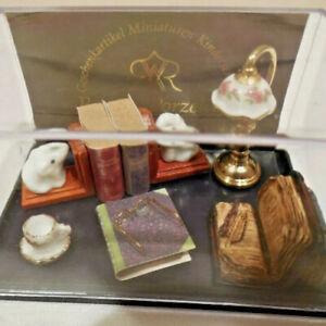 Reutter Porzelan Dollhouse Miniature Desktop Set Lamp, Books, Bookends Tea Cup