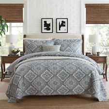 100% Cotton Quilted Coverlet / Bedspread Set  Queen King Size Bed 230x250cm Grey