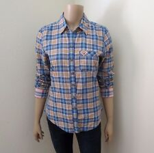 Hollister Womens Plaid Shirt Size Small Button Down Top Blouse Colorful