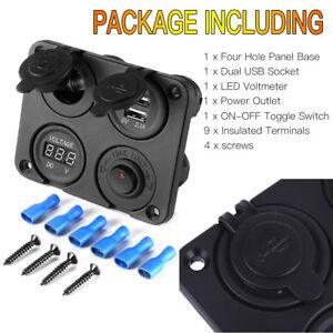 12V Car Cigarette Lighter Socket + Dual USB Port Charger + Voltmeter Panel BI315