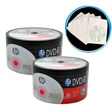 ON SALE! 100 Pack (50 x 2) HP Logo Blank 16x DVD-R Disc + 100 White Paper Sleeve