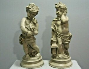 pair Boy Statue Holding Lantern and Girl Holding Lamb  1965 - Universal Statuary