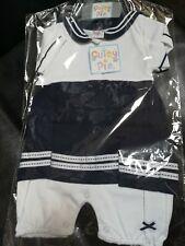 BNWT Bebé Chicos Azul Stripey Barco De Vela 2 Piezas T-shirt y Pantalones Cortos Conjunto de Ropa