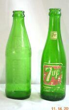 VINTAGE 7UP 7 UP GREEN GLASS POP SODA BOTTLE  RARE EMBOSSED HTF