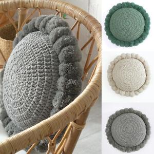Flower Throw Pillow Tassel Pom Pom Knitted Round Cushion Home Decor Sofa Pillow