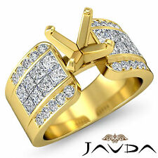 Diamond Wedding Pave Invisible Ring 18k Yellow Gold Multi Shape Semi Mount 1.14C