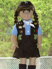 """SCOUT BROWNIE SKIRT VEST UNIFORM Outfit Fits 18"""" American Girl Doll Clothes 5 Pc"""