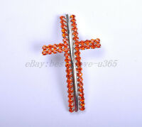 Curved Side Ways Double Crystal Rhinestones CROSS Bracelet Connector Charm Beads