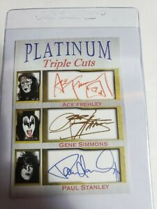Ace Frehley Gene Simmons Paul Stanley Platinum  Cuts 1000 Made FACSIMILE AUTO