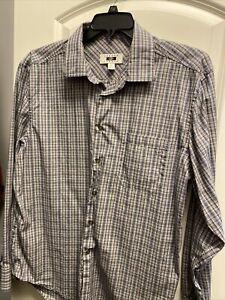 Joseph Abboud Men's XL 100% Cotton Gray and Black Dress Shirt