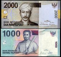 INDONESIA SET 2 PCS 1000 2000 RUPIAH 2008 2009 P 141 148 UNC