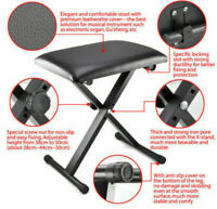 US Adjustable Height Piano Keyboard Bench Stool Folding Leather Seat Chair Black