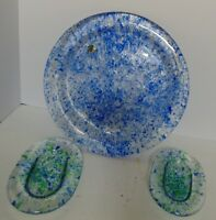 MURANO BLUE CONFETTI GLASS PLATTER-CLEAR w/BLUE FLAKES+2 OVAL GREEN FLAKES DISHS