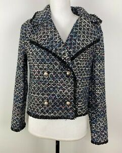 Cupcakes and Cashmere Woven Jacket Tweed Blazer pearl buttons Women Size Small