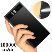 100000mAh Metal Slim LCD LED Travel Portable Power Bank Dual USB Battery Charger