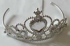 NEW Plastic silver childrens clear stone tiara hair accessory bling party prom