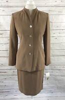 Jones New York Women's  2 Pc Skirt Suit Tan 100% Silk Size 6 NWT $230
