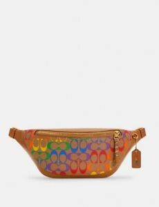 Coach Pride Warren Belt Bag In Rainbow Signature Canvas C4006