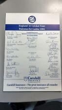 England 'A' hand signed team sheet 1991