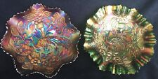 Two Fer!!! Fenton Peacock and Urn Carnival Glass Bowls...Green and Purple