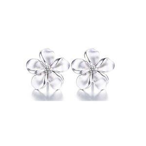 18k White Gold Plumeria Flower Stud Earrings  Made With Swarovski Elements