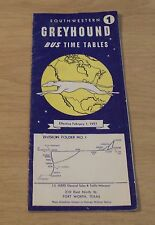 """1957 Travel Brochure of Bus Time Tables~""""Greyhound&#0 34;~Southwestern Usa~Map~"""