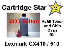 XXL Nachfülltoner und Reset Chip cyan für Lexmark CX410 CX510 (3000 S.)
