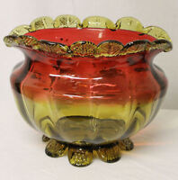 Large Amberina Art Glass Center Bowl with Gold Enameled Floral Designs