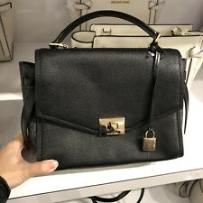 NWT Michael Kors Cassie Medium Top Handle Leather Messenger Bag In  Black