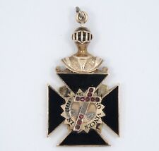 ANTIQUE MASONIC KNIGHTS TEMPLAR  IN HOC SIGNO VINCES SOLID 10K GOLD PENDANT FOB