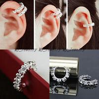 1PC Women Silver Ear Cuff Crystal Rhinestone Wrap Cartilage Clip On Stud Earring