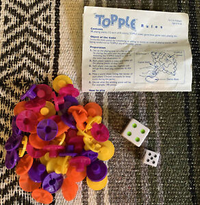 Topple Game Replacement Playing Pieces, Die & Instructions 2010 (51 PCS LOT)