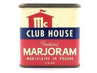 Vintage 1970s Club House McCormick Powdered Marjoram Empty Tin L410