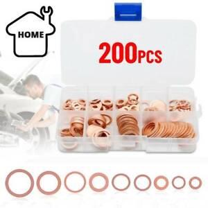 200PCS Assorted Crush Copper Gasket Seal Ring Hardware Set Metal Flat Washer UK