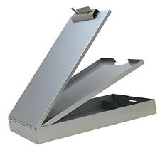 Office Clipboard Dual Storage Paper Holder Metal Aluminum Letter Size Gray Color