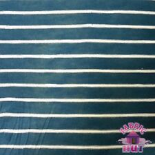 Jersey Knit Polyester Poly Spandex Dark Green & White Stripe Fabric by the Yard