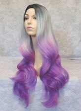 X-Long Thick & Soft Black/Silver/Purple Ombre Heat Ok Full Synthetic Wig - 245